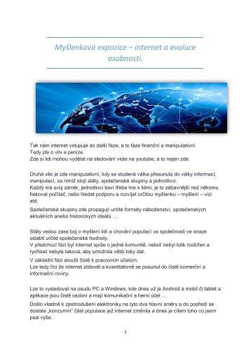Myšlenková expozice - internet a evoluce osobnosti 28.4.2017