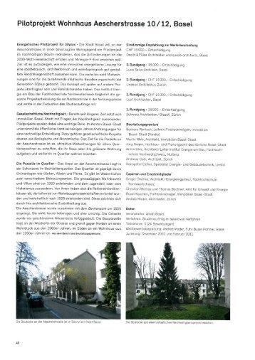 Pilotprojekt Wohnhaus Aescherstrasse 10/12, Basel