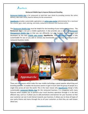 Restaurant Mobile App to improve Restaurant Branding