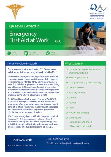 Emergency First Aid at Work Flyer- Taskmasters