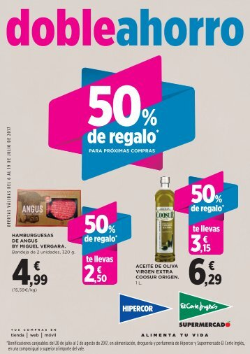 Folleto Hipercor doble ahorro hasta 19 de Julio 2017