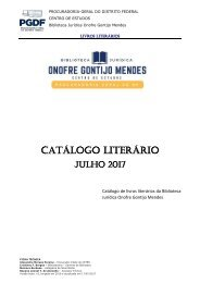 Catálogo Literário - Biblioteca Jurídica Onofre Gontijo Mendes - PGDF