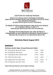 Unsere Weinliste (Stand: August 2012) - Jesteburger Weinlaube