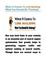 When It Comes To Link Building What You Should Be Thinking