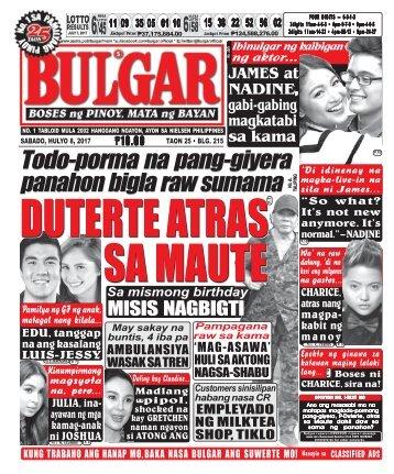 JULY 8, 2017 BULGAR: BOSES NG PINOY, MATA NG BAYAN