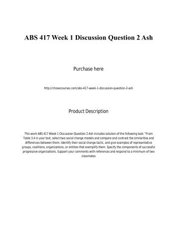 ABS 417 Week 1 Discussion Question 2 Ash