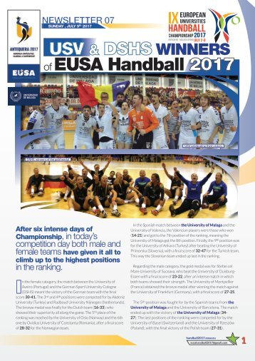 NEWSLETTER 07_EUSA Sunday 9th JULY 2017