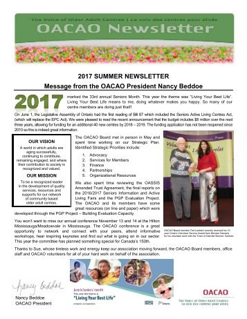 2017 Summer OACAO Newsletter FINAL
