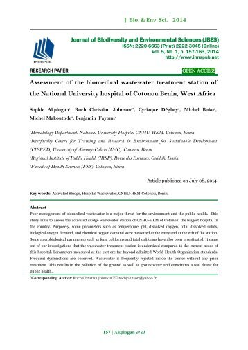 Assessment of the biomedical wastewater treatment station of the National University hospital of Cotonou Benin, West Africa