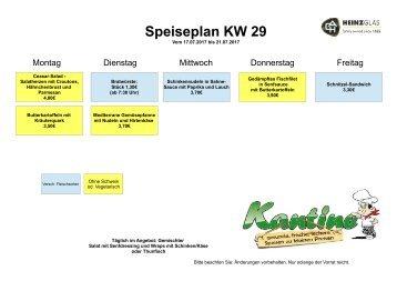 Speiseplan kw29