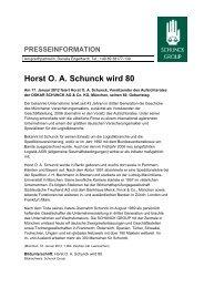 Horst O. A. Schunck wird 80 - Schunck Group