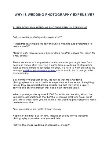 WHY IS WEDDING PHOTOGRAPHY EXPENSIVE