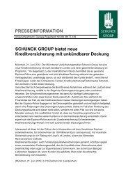 SCHUNCK GROUP bietet neue Kreditversicherung mit unkündbarer ...