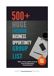 500+ Huge Facebook Business Opportunity Group list make money online at home