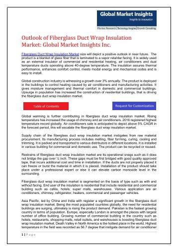 Fiberglass Duct Wrap Insulation Market Present Scenario and Growth Prospects 2017-2024