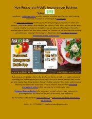 How Restaurant Mobile Improve your Business Sales