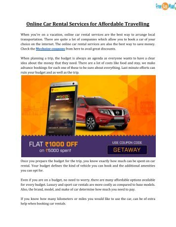 Online Car Rental Services for Affordable Travelling