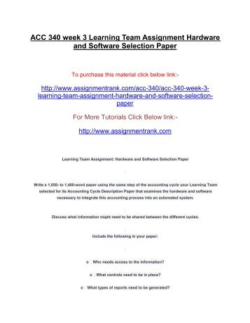 Hardware and Software Selection Paper