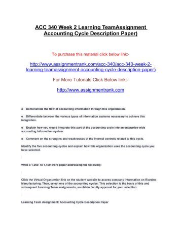 ACC 340 Week 2 Learning TeamAssignment Accounting Cycle Description Paper)