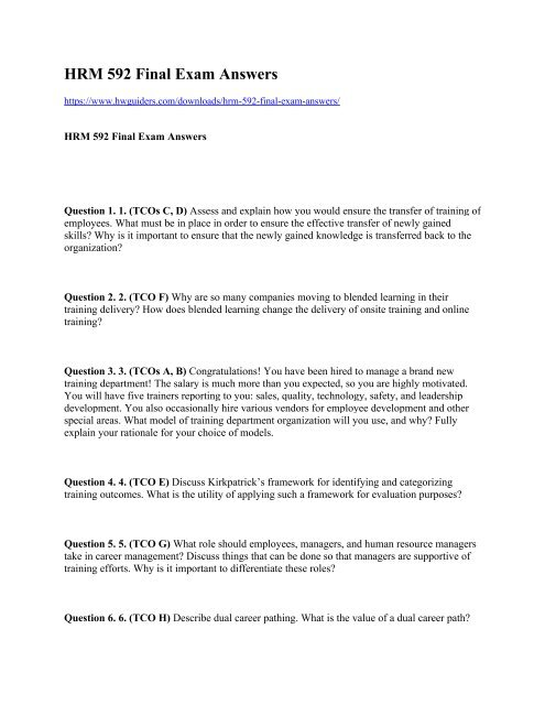 HRM 592 Final Exam Answers