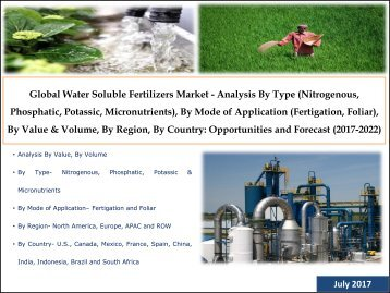 Global Water Soluble Fertilizers Market - Analysis By Type (Nitrogenous, Phosphatic, Potassic, Micronutrients), By Mode of Application (Fertigation, Foliar), By Value & Volume, By Region, By Country: Opportunities and Forecast (2017-2022)