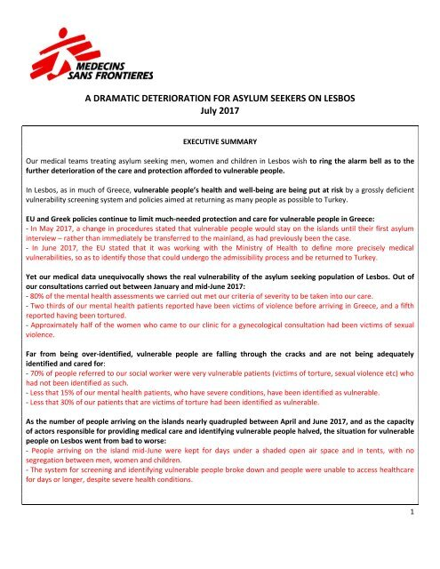 2017 07 05 - MSF - Briefing document vulnerable people on Lesbos