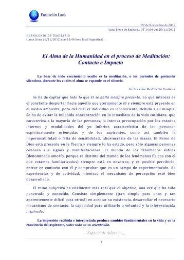 El Alma de la Humanidad en el proceso de Meditación