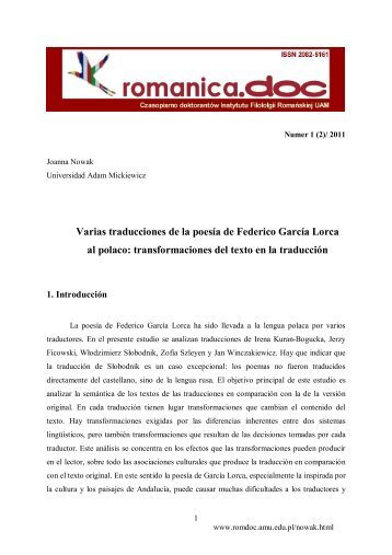 Varias traducciones de la poesía de Federico García Lorca al polaco