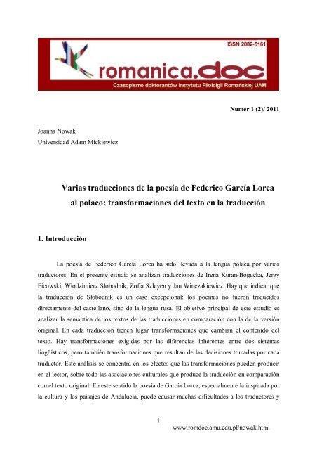 Varias Traducciones De La Poesía De Federico García Lorca Al