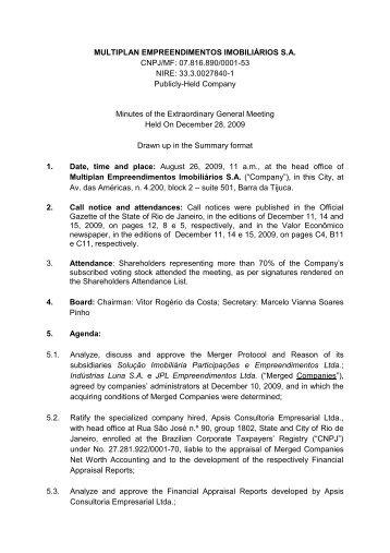 Minutes of Extraordinary General Meeting - Multiplan