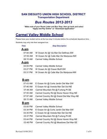 Bus Routes 2012-2013 - San Dieguito Union High School District