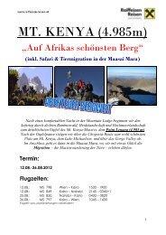 Detailprogramm Berg, Mt. Kenya 2012, fir - Raiffeisen Reisen
