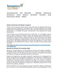 Transformer Oil Market 2016 Trends, Research, Analysis and Review Forecast 2024