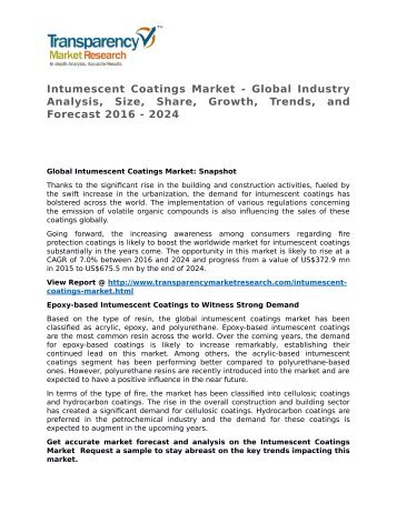 Intumescent Coatings Market 2016 Trends, Research, Analysis and Review Forecast 2024