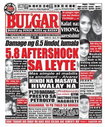 JULY 11, 2017 BULGAR: BOSES NG PINOY, MATA NG BAYAN