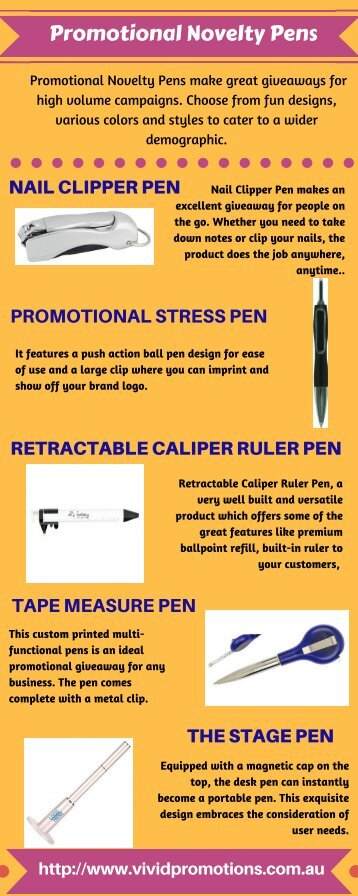 Promotional Novelty Pens at Vivid Promotions Australia