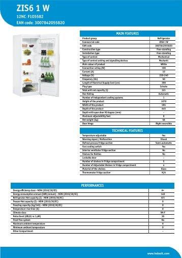 KitchenAid ZIS6 1 W - ZIS6 1 W EN (F105582) Informations produit