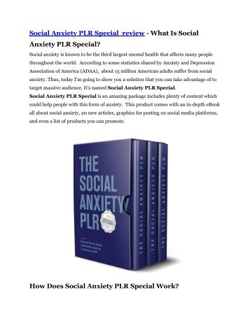 Social Anxiety PLR Special review & Social Anxiety PLR Special $22,600 bonus-discount