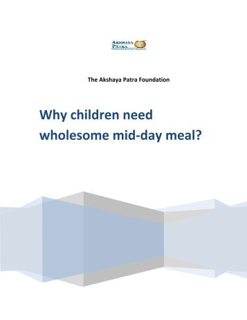 Why children need wholesome mid-day meal?