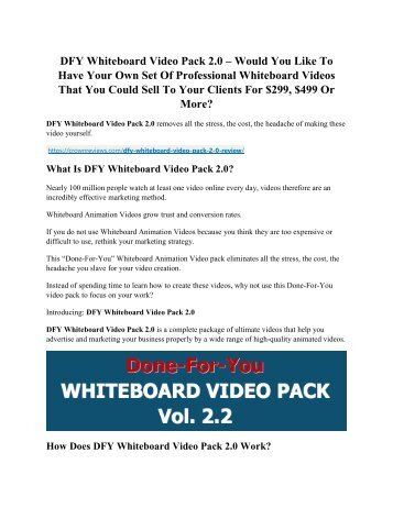 DFY Whiteboard Video Pack 2.0 review & (GIANT) $24,700 bonus NOW