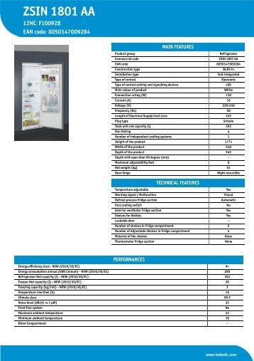 KitchenAid ZSIN 1801 AA - ZSIN 1801 AA EN (F100928) Informations produit