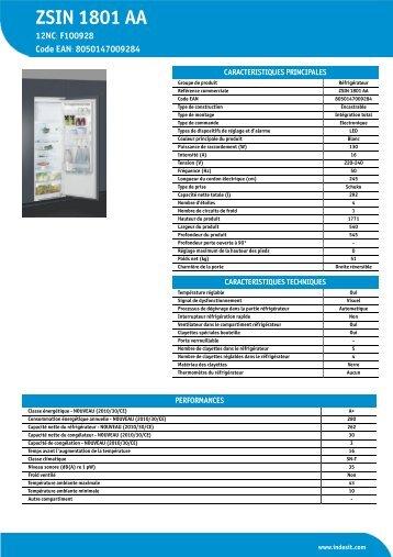 KitchenAid ZSIN 1801 AA - ZSIN 1801 AA FR (F100928) Informations produit