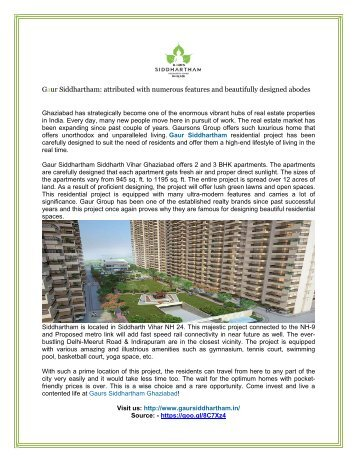 Gaur Siddhartham a luxury apartments in Ghaziabad