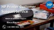 HP Printer Customer Support Number 0800-046-5291 UK for Repair