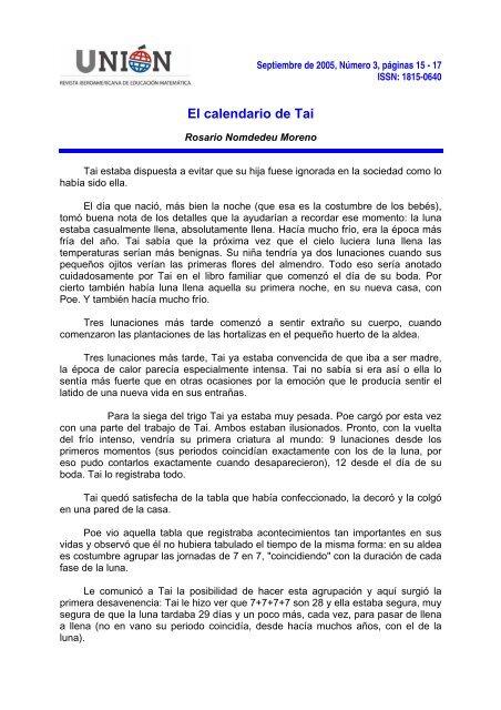 Calendario Lunare 2005.El Calendario De Tai Fisem