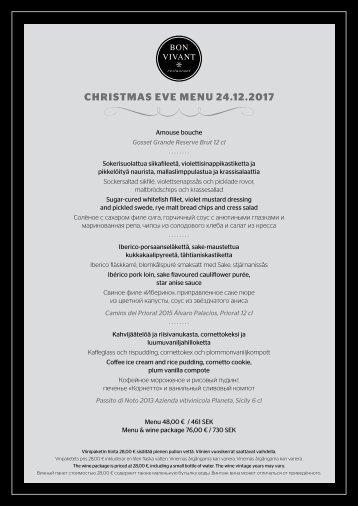 20171224 Bon Vivant Christmas Eve Menu, Silja Serenade & Silja Symphony