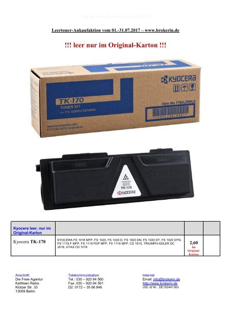 Ankauf leere Toner Kyocera TK-170