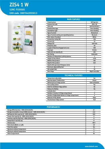KitchenAid ZIS4 1 W - ZIS4 1 W EN (F105581) Informations produit