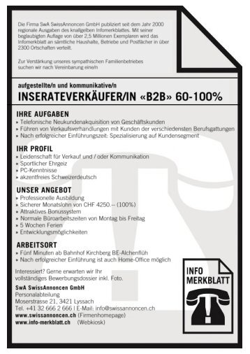 Stelleninserat Inserateverkäufer/in 60-100%