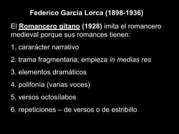 Federico García Lorca (1898-1936) El Romancero gitano (1928 ...